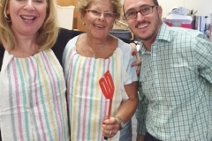 Shelley, Rena and Rabbi Jacob in the kitchen