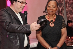Ways Means_rabbi gives Tina plaque