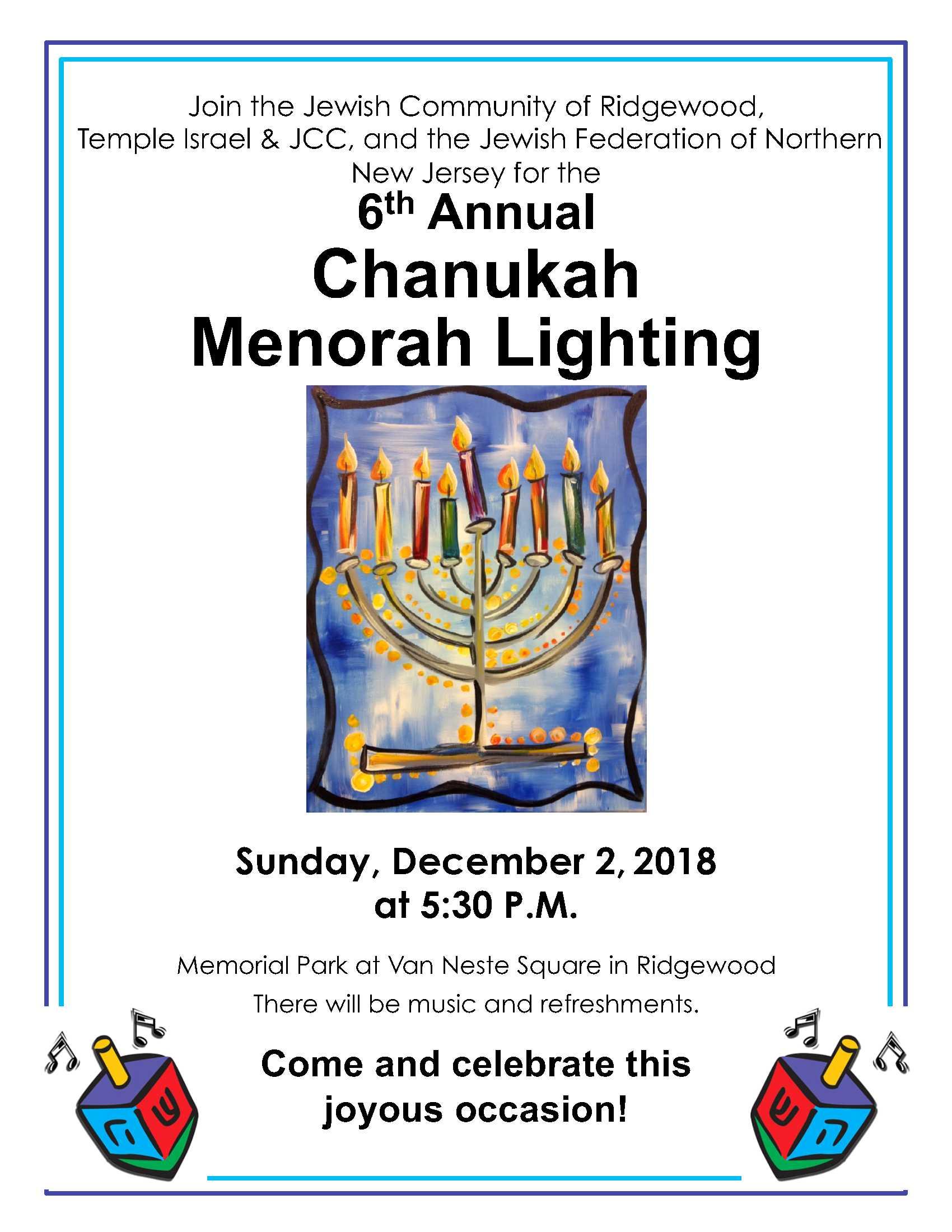 Ridgewood community menorah lighting