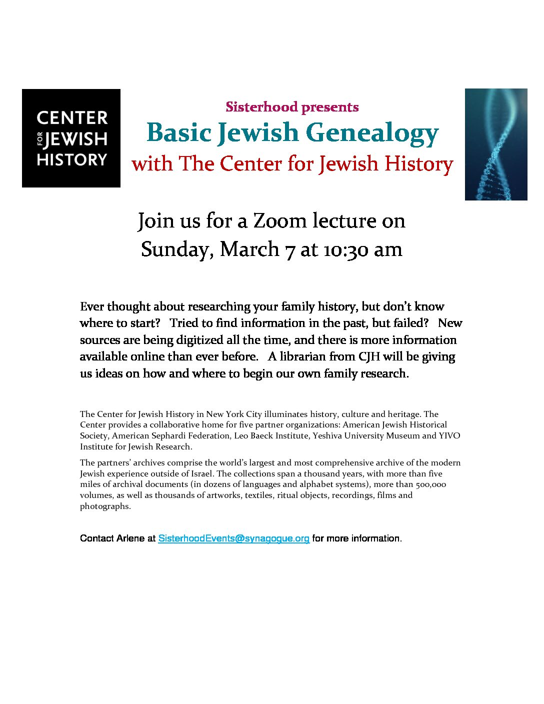 Lecture Event: Basic Jewish Genealogy w. The Center for Jewish History