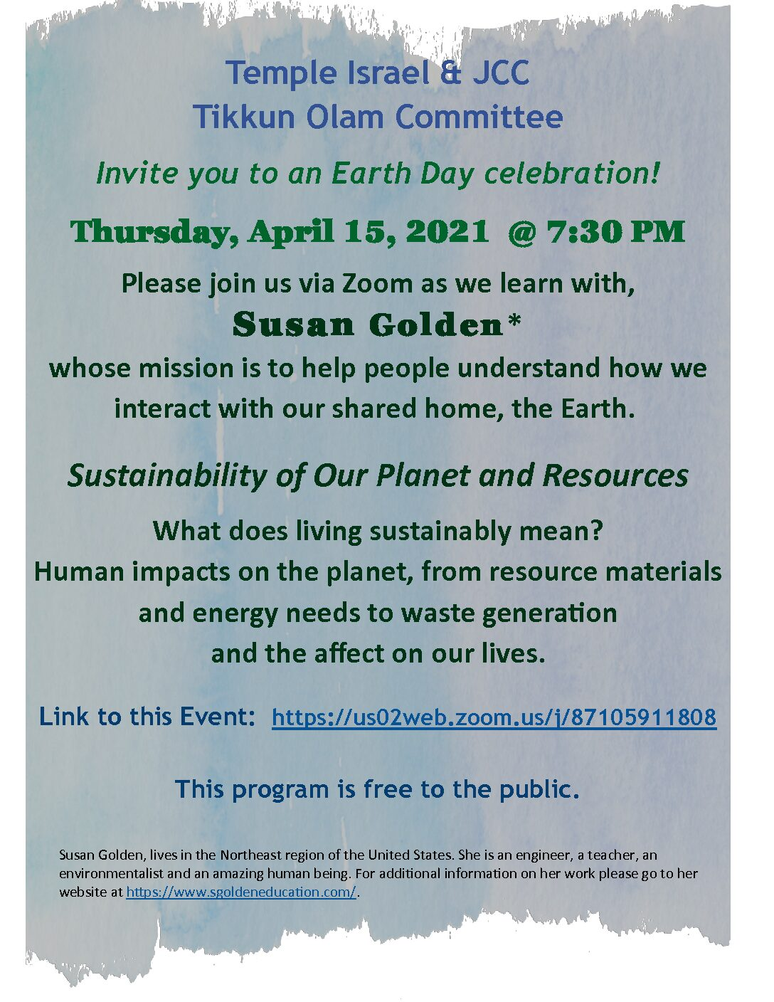 Earth Day Speaker - Susan Golden: Sustainably of the Planet & It's Resources