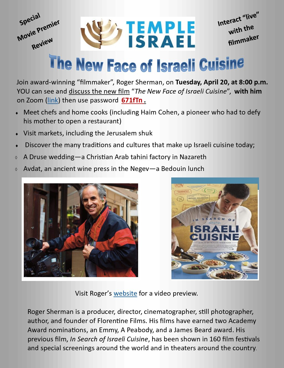 The New Face of Israeli Cuisine - An Interactive program