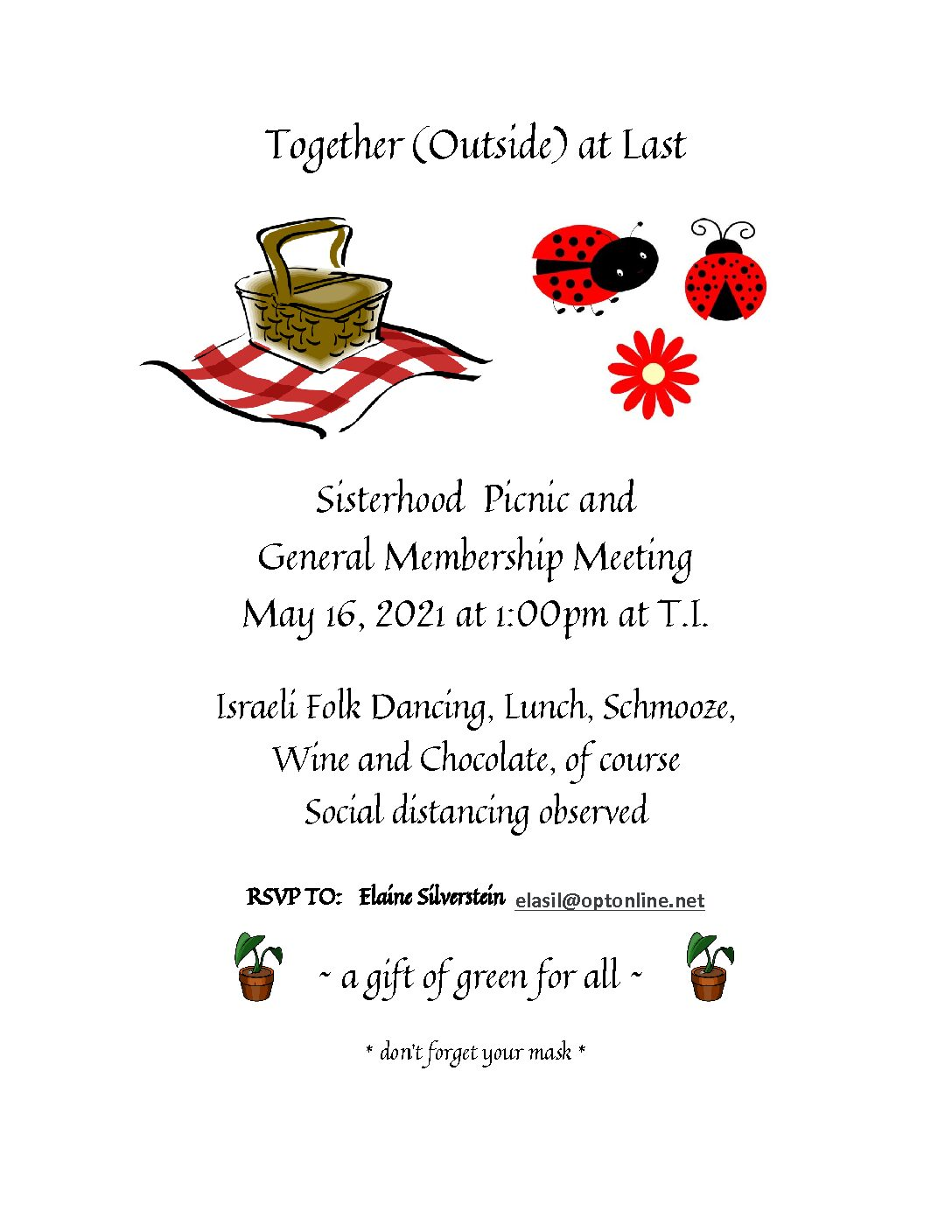 TEMPLE MEMBERS!  Get Ready, the Sisterhood Sponsored Annual Picnic is Here