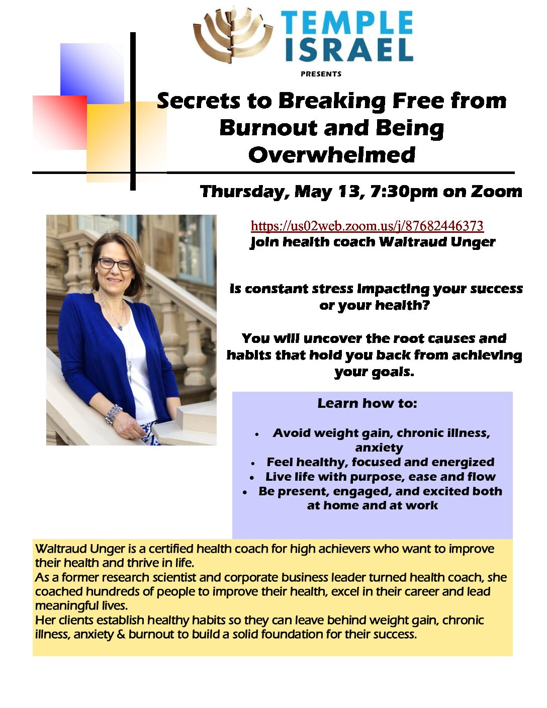Lecture:  Secrets to Breaking Free from Burnout and Being Overwhelmed