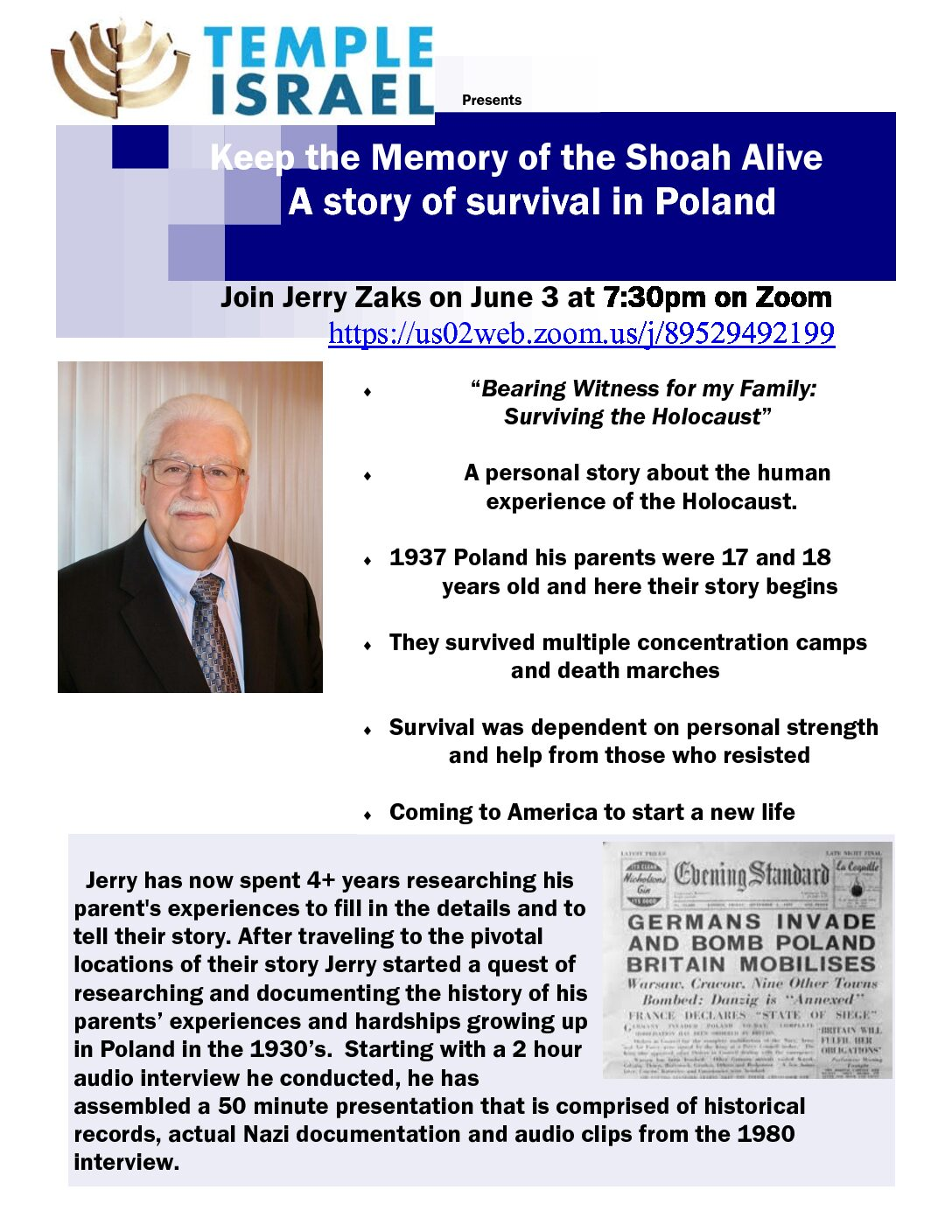 Lecture: Memory of the Shoah Alive, a story of survival in Poland
