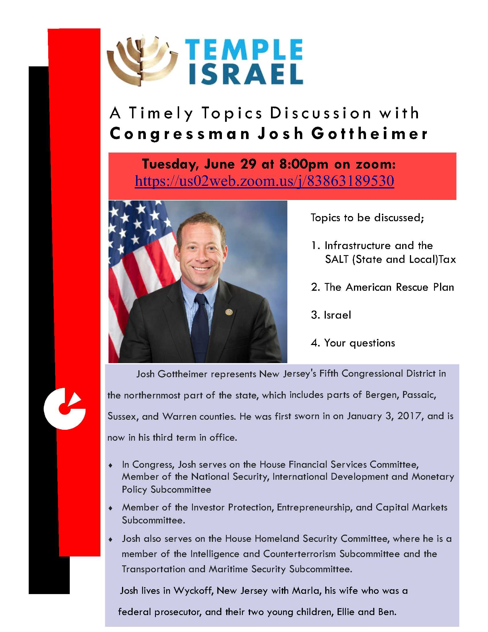J. Gottheimer? When? Tuesday, June 29. What time? 8