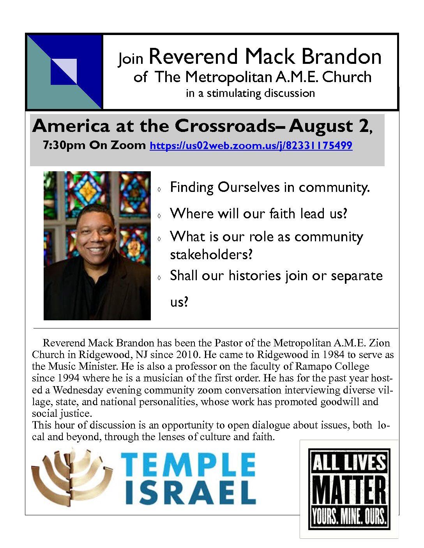 Join Reverend Mack Brandon of The Metropolitan A.M.E. Church
