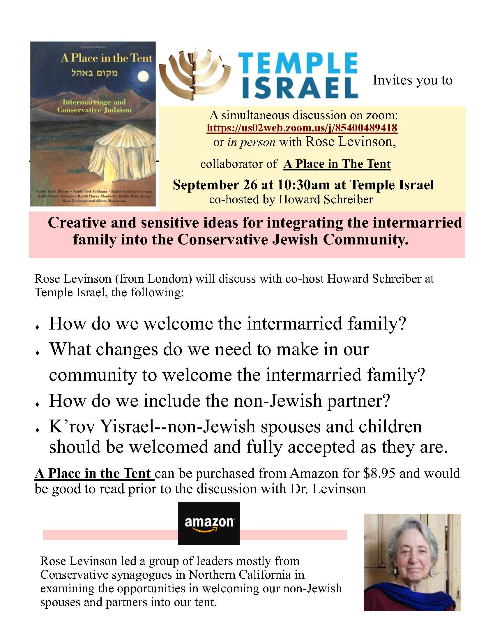 Lecture (Zoom) & In Person:  Intermarriage and the Conservative Jewish Family